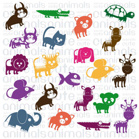 Illustration of Cute Animals. wildlife and farm animals  icons. vector illustration Vector