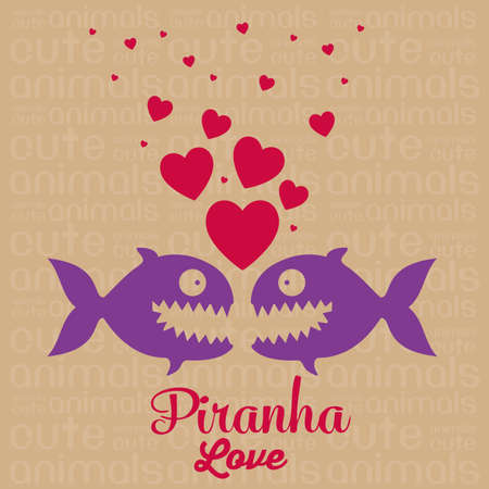 Illustration of Cute Animals. Piranha love. vector illustration Vector