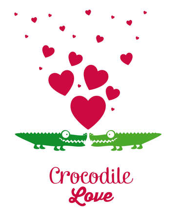 Illustration of Cute Animals. crocodile love. vector illustration Vector