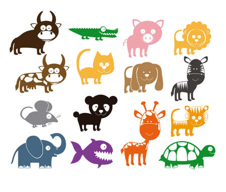 collection: Illustration of Cute Animals. wildlife and farm animals  icons. vector illustration