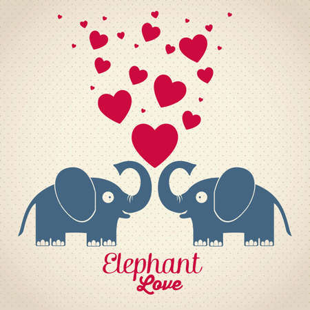 Illustration of Cute Animals. Elephant love. vector illustration Vector