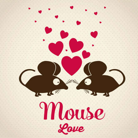 Illustration of Cute Animals. Mouse love. vector illustration Vector