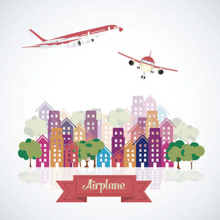 avion: Illustration of airplane icons. Aircraft in the city. vector illustration