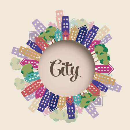 new york street: Illustration de la ville avec des arbres et des b�timents, illustration vectorielle