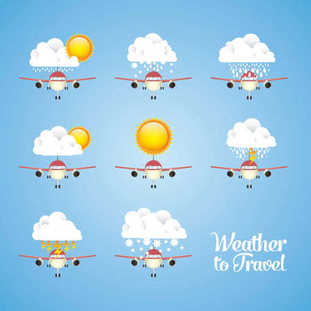 Illustration of airplane icons. Weather for flying. vector illustration Vector