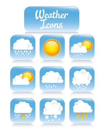 Illustration of weather icons on square buttons. vector illustration Stock Vector - 17888762