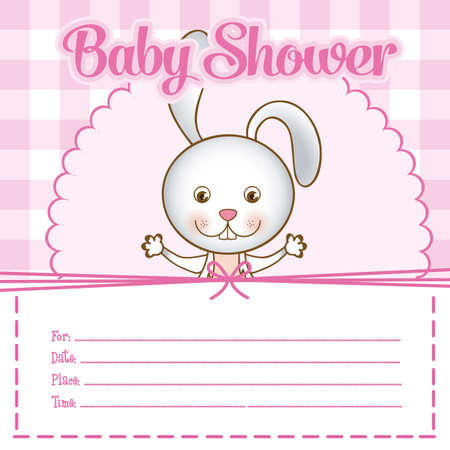 Illustration of baby shower invitation with a cute bunny. vector illustration Vector