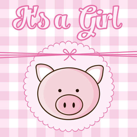 date of birth: Illustration of baby shower invitation with a cute Pig. vector illustration Illustration