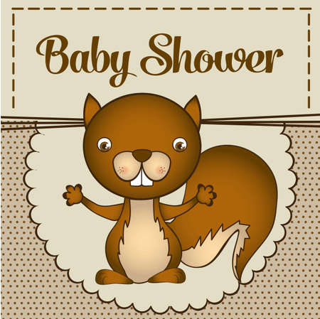 Illustration of baby shower invitation with a cute squirrel. vector illustration Vector