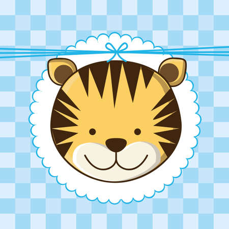 Ilustración de la invitación con un tigre lindo. ilustración vectorial Vectores
