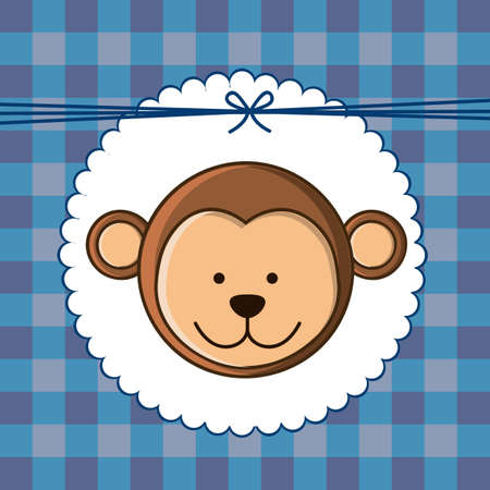 Illustration of  invitation with a cute monkey. vector illustration Vector