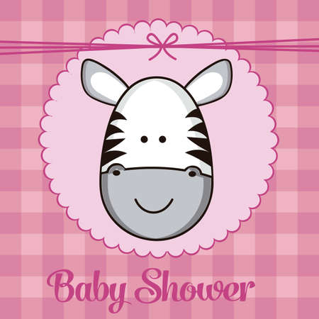 Illustration of baby shower invitation, with a cute zebra. vector illustration Vector