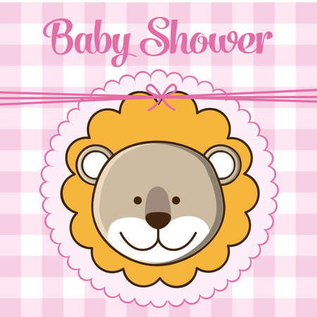 Illustration of baby shower invitation, with a cute lion. vector illustration Vector