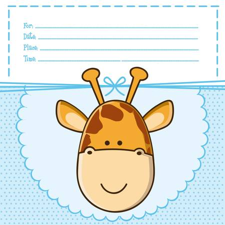 Illustration of  invitation with a cute giraffe. vector illustration Vector