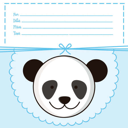 Illustration of  invitation with a cute panda. vector illustration Vector