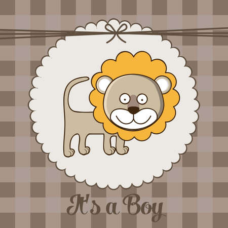 date of birth: Illustration of baby shower invitation with a cute lion. vector illustration Illustration