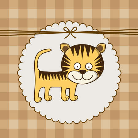 Illustration of baby shower invitation with a cute tiger. vector illustration Vector