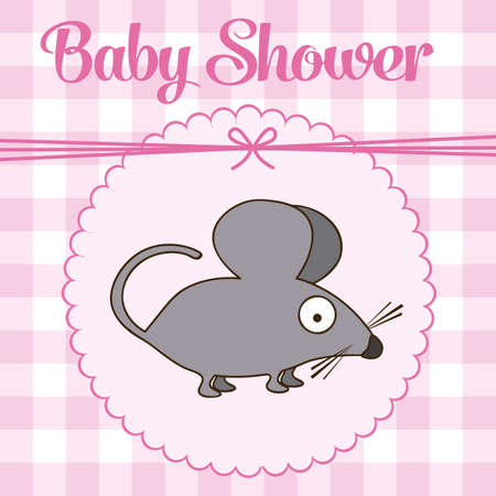 Illustration of baby shower invitation with a cute mouse. vector illustration Vector