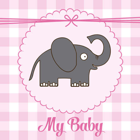 Illustration of baby shower invitation with a cute elephant. vector illustration Vector