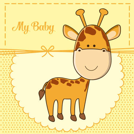 Illustration of baby shower invitation with a cute giraffe. vector illustration Vector