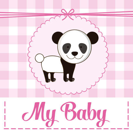 Illustration of baby shower invitation with a cute panda. vector illustration Vector