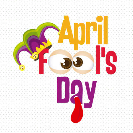 idiot box: Illustration of April Fools Day. Jester icons. vector illustration