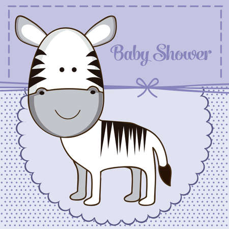 Illustration of baby shower invitation with a cute zebra. vector illustration Vector