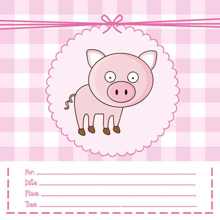 Illustration of invitation with a cute pig. vector illustration Vector