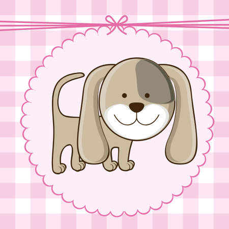 date of birth: Illustration of  invitation with a cute dog. vector illustration Illustration