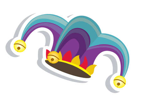 harlekijn: Illustratie van een clownshoed. April Fools Day. vector illustratie