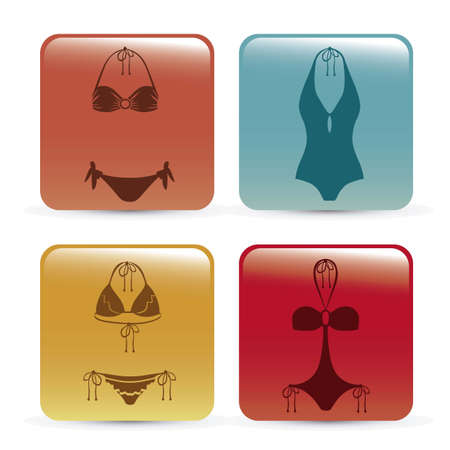 Illustration of bikini icon. Swimsuit one and two pieces.  illustration Vector