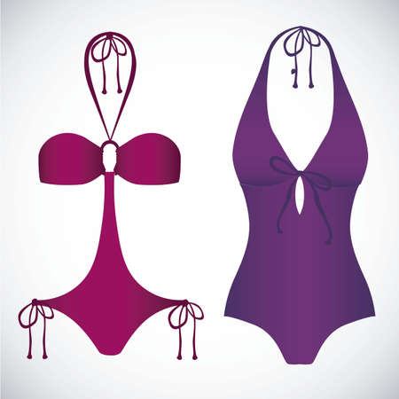 Illustration of  bikini icons. Swimsuit one piece illustration Vector