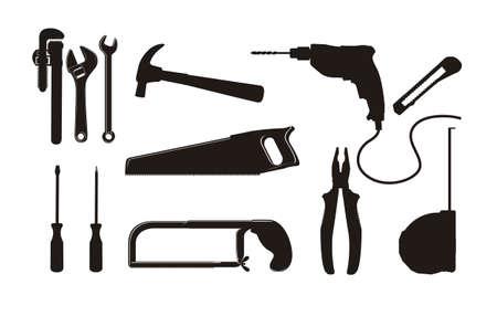 alicates: Ilustración de equipo de construcción, iconos construcción, sitio, trabajador, herramientas de ilustración Vectores