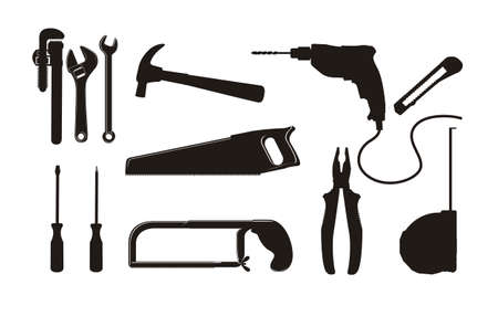 Ilustracja Roboty budowlane, ikony, Site, robotnika, ilustracji narzÄ™dzi
