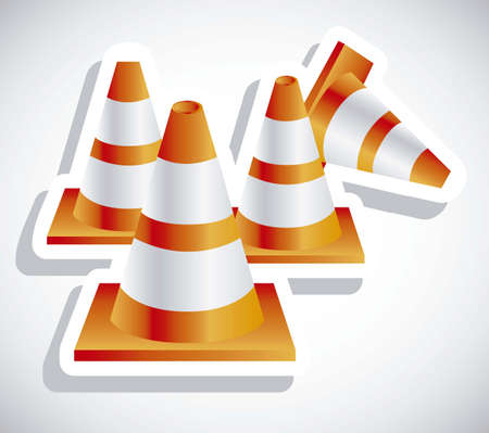 Illustration of orange traffic cones on white background illustration Stock Vector - 18074450
