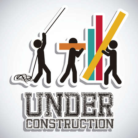 建設: 建設、建設アイコンの下のイラスト サイト、労働者、ツール イラスト  イラスト・ベクター素材