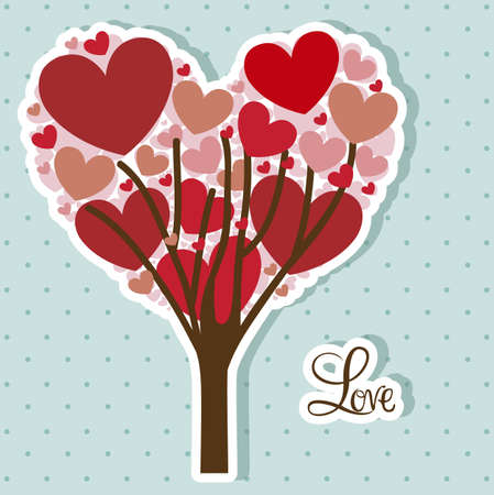 inlove: Illustration of tree of hearts, love and wedding icons, vector illustration