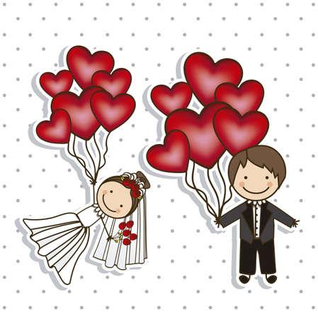 Illustration des icônes de mariage et de mariage des concepts, illustration vectorielle