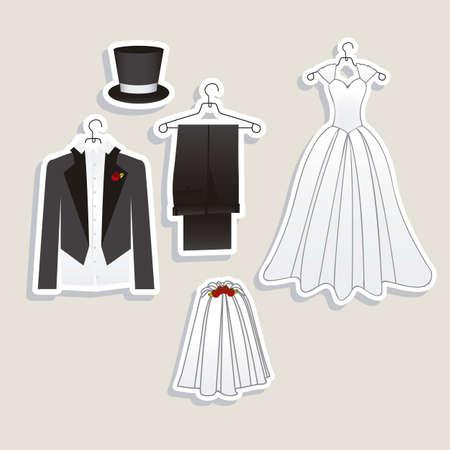 ウェディングドレス: 結婚式のアイコンおよび概念の結婚式、ベクトル図の図