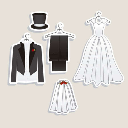 Illustration of Wedding Icons and Concepts Wedding, vector illustration 向量圖像