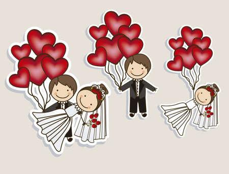 proposal of marriage: Illustrazione di icone di nozze e Concetti di nozze, illustrazione vettoriale Vettoriali