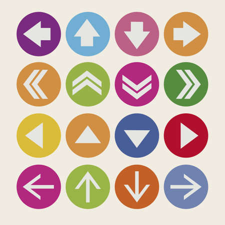 navigation buttons: Illustration of arrow icons, in differents shapes and colors, vector illustration