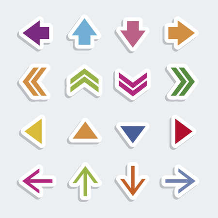 application button: Illustration of arrow icons, in differents shapes and colors, vector illustration