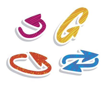 designator: Ilustraci�n de los iconos de las flechas, en diferentes formas y colores, ilustraci�n vectorial