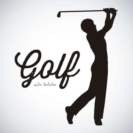 Ilustración de los iconos del golf, ilustraciones de deportes y juegos, ilustración vectorial