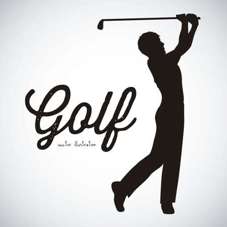 golf stick: Ilustraci�n de los iconos del golf, ilustraciones de deportes y juegos, ilustraci�n vectorial
