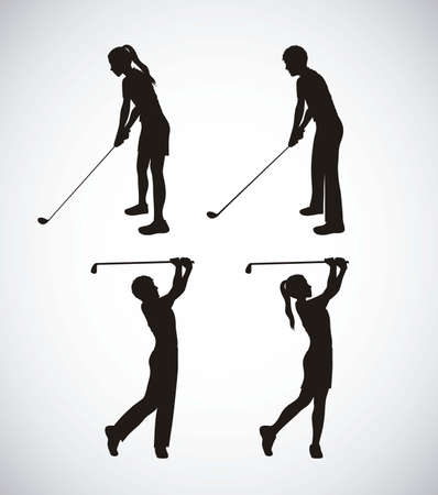golf stick: Illustration of golf icons, illustrations of sports and games, vector illustration