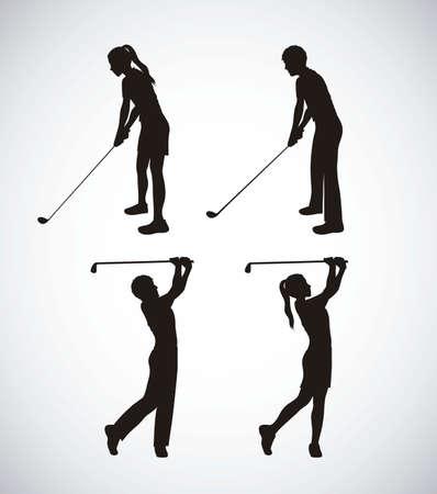 golf stick: Ilustraci�n de los iconos de golf, ilustraciones de deportes y juegos, ilustraci�n vectorial