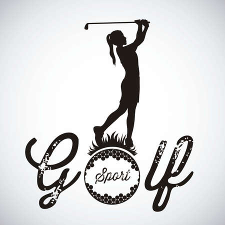golf equipment: Illustration of golf icons, illustrations of sports and games, vector illustration