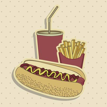 combo: Illustrazione di hot dog. Combo di fast food in stile vintage, illustrazione vettoriale
